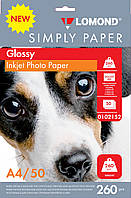 Бумага для струйных принтеров глянцевая Lomond 260 г/м, А4 50л.