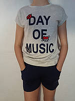 Комплект трикотажный футболка+шорты для девочки р.158/164 F&D