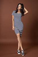 Стильное трикотажное полосатое платье. Код модели Л-43-52-17. Цвет синий.