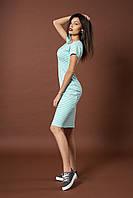Стильное трикотажное полосатое платье. Код модели Л-43-52-17. Цвет мятный.