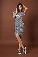 Стильное трикотажное полосатое платье с пайетками. Код модели Л-44-52-17. Цвет синий.
