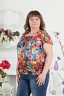 Блуза из сетки с цветочным принтом, большие размеры