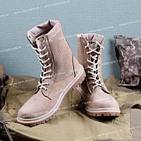 Берцы НАТО сетка кожа песок L_4