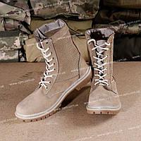 Берцы НАТО сетка кожа песок L_5