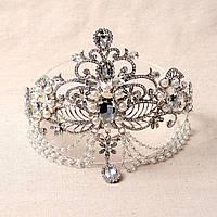 Тика под серебро с подвесным камнем, диадема в восточном стиле, тиара, корона высота 13 см.