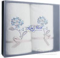 Набор полотенец La Nuit 2 шт. Гортензия с вышивкой белый