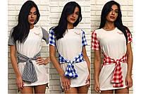 Женское платье - туника  с имитацией рубашки