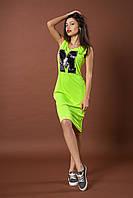 Яркое летнее молодежное платье. Код модели Л-35-48-17. Цвет яркий лимонный.
