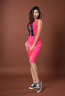 Яркое летнее молодежное платье. Код модели Л-35-48-17. Цвет яркий розовый.