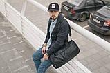 Мужская кожаная сумка бочка mod.ROMB из экокожи, фото 4