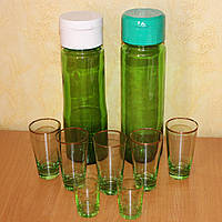 Кувшин-бутылка для сока, вина, 5 стаканов по 100 мл, 2 рюмки 50 мл