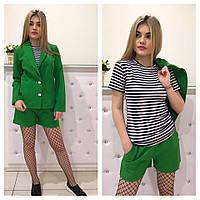 Костюм женский стильный тройка: пиджак с шортами и футболка 4 цвета Dm467