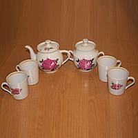 Заварник чайный, сахарница и 4 чашки, сервиз на 4 персоны