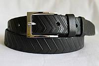 Кожаный ремень 35 мм чёрный рисунок пряжка классическая хромированная