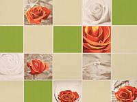 Обои на стену, яркий рисунок, зеленые, розы, виниловые,  B49.4 Алмаз 5507-04,супер мойка, 0,53*10м