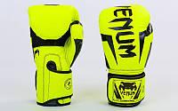 Перчатки боксерские PU на липучке VENUM Лимонный, 10 oz