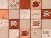 Обои на стену, чашка, чашки, яркий рисунок,  виниловые, Калипсо 5525-12,супер мойка, 0,53*10м