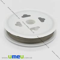 Бижутерный тросик, 0,7 мм, Серебристый, 1 м (LES-020435)