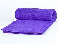 Банное махровое полотенце однотонное Туркменистан 70х140 плотность 500гр/м2 Фиолетовое (B1-7-R)