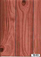 Обои на стену, под дерево, темные, бумажные влагостойкие, дерево 10-03, 0,53х10м.