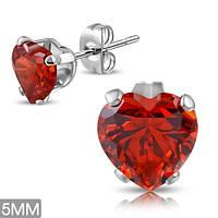 Серьги гвоздики с красным фианитов в виде сердца
