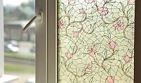Самоклейка, цветы, светлый,  витражная для стекол, PATIFIX, 90 cm