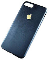 """Черный силиконовый TPU чехол-накладка с золотистым яблочком для Iphone 7 Plus (5.5"""")"""