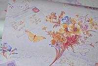 Обои на стену, детские, бабочки, цветы, светлые, влагостойкие, бумажные, Письмо 8060 - 07, 0,53*10м