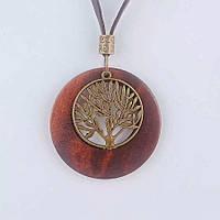 Подвеска кулон ювелирная бижутерия бронза, дерево, кожа 3144