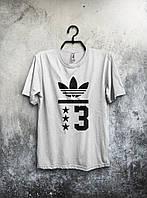 Приталенная футболка мужская Adidas Адидас белая (большой принт)