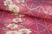 Обои На стену, цветы, красный, полоски,  дуплексные, B64,4 Ансамбль 8051-06, бордо, 0,53*10м