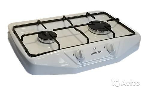 Плита Greta 2-х горелочная, настольная (белая)