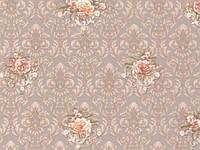 Обои на стену, бежевый, цветы, вензель, дуплекс, бумажная основа,B64,4 Гвоздика 8092-02, 0,53*10м