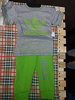 Летний детский костюм Адидас: футболочка и бриджи. Цвет серый с салатовым