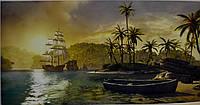 Фотообои, остров, корабль, лодка, море,  ПРЕСТИЖ №36 392смХ204см