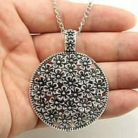 Подвеска кулон с цепочкой ювелирная бижутерия античное серебро 3145