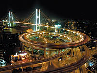 Фотообои, ночной город, мост, ночные огни,  ПРЕСТИЖ №6 196смХ136см