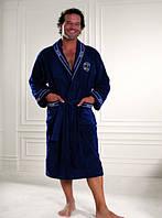 Мужской махровый халат 46-62 Marine Softcotton синий, фото 1