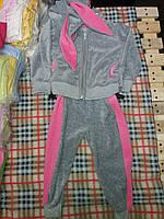Детский спортивный костюм с ушками на капюшоне для девочки, материал велюр. Серый с розовым