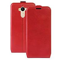 Чехол книжка для Xiaomi Redmi 4 вертикальный флип с отсеком для визиток, Красный