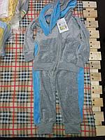 Детский спортивный костюм с ушками на капюшоне для девочки, материал велюр. Серый с голубым