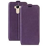 Чехол книжка для Xiaomi Redmi 4 вертикальный флип с отсеком для визиток, Фиолетовый