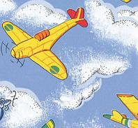 Самоклейка, самолет, небо, облако, синий, желтый, GEKKOFIX 11693, 45 cm