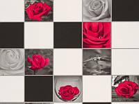 Обои на стену, винил,супер мойка, красная роза, плитка, черно-белая, B49.4 Алмаз 5507-10, 0,53*12м