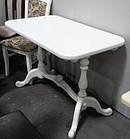 Стол раскладной Дуэт белый 120 обеденный деревянный