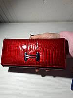 Женский кожаный кошелек, красный лаковый , фото 1