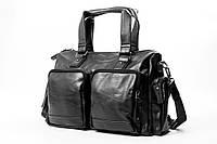 Мужская кожаная сумка mod.DotBoss дорожная черная