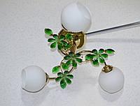 Люстра, 3 лампы, с камешками, матовый плафон