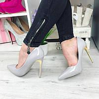 Женские туфли лодочки, золотой каблук 11.5 см, эко лак, серые / туфли для девочек, модные