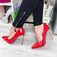 Женские туфли лодочки, золотой каблук 11.5 см, эко лак / красные туфли для девочек, удобные